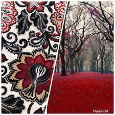 NEW Novelty Belgium Burnout Chenille Velvet Fabric Upholstery- Red Floral