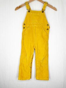 Hanna Andersson Yellow Overalls Corduroy 90 cm 3T snap bottom adjustable pants