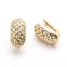 Vintage 14k yellow gold Mesh Hoop Leverback Earrings Estate