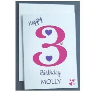 Personalised 3rd Birthday Card Girl - 3 Years Old - Daughter Granddaughter Niece