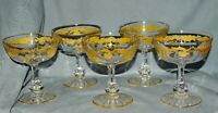 5 Champagnerkelche Sektgläser Saint-Louis,Massenet Or,Kristall,Golddekor,12,4 cm