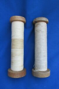 """Lot of 2 Vintage Large Sewing Thread Spool Spindles Bobbin Industrial Textile 7"""""""