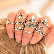 10PC/Set Rings Urban Silver stack Crystal Cute Above Knuckle Ring Band Midi Ring