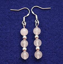 Rose Quartz Earrings with Sterling Silver Hooks Drop Dangle Style LB316