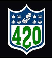 "NFL 420 Marijuana Weed Vinyl Decal Sticker 5"" Car Vehicle Spoof Funny Leaf"