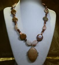 "18"" Handmade Bamboo Jasper Necklace with Matching Pendant - copper, goldstone"