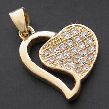 OPEN HEART CZ ENCRUSTED 24k GOLD Layered Charm Jewellery Pendant  LIFE GUARANTEE