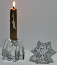 2 Star Shaped Clear Glass Candle Holders