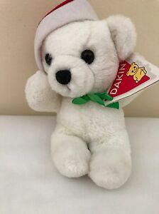 Dakin Christmas Mini Cuddle Bear White Red Santa Hat Bell With Tags 10""