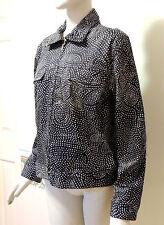 Geoffrey Beene Sport Women's Black w/ Tan Dots Full Zip Stretch Jacket, Size 10