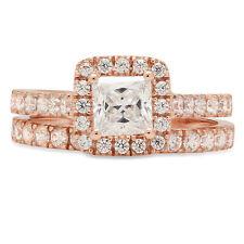 Ring Band set 14k Rose Gold 1.60ct Princess Halo Pave Moissanite Promise Bridal