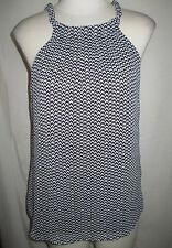 a.n.a. A New Approach Women's Top Blouse Size SMALL Sleeveless Black White Gray