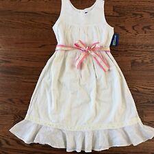 Genuine Kids by Oshkosh Girls NWT 10 Off white seersucker lace sundress BEACH !
