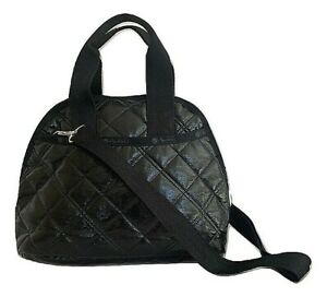 LeSportsac Black Crinkle Quilted Patent Amelia Convertible Crossbody/Top Handle