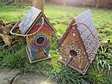 FairTrade Hand Made Carved Wooden Dot Painted Bird House Nest Nesting Garden Box