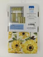 Kitchen Rod Valance 2-pk Tier Cafe Curtains Light Filtering Sunflower Sunshine