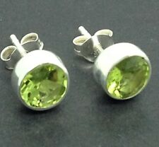 Peridot Gemstone round Stud Earrings, Solid sterling silver, New. Faceted. 6mm.