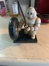 Michelin Man Bibendum Inflating Tire, Marked Whale London 1949, Cast Iron Statue