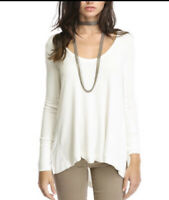 Free People Ivory White Light Weight Thermal Oversized Top  Small S NWT $78