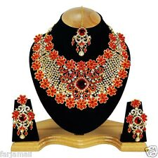 Golden Handmade Wedding Kundan Zerconic Designer Big Choker Bridal Set Earrings