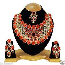 Golden Handmade Wedding Kundan Zerconic Designer Big Choker Bridal Set Earrings
