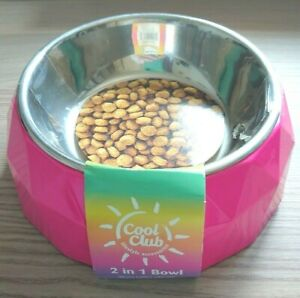 Cat / Dog Bowl - Bright Pink + Metal - Medium (Top 14cm/Base 17.5/Depth 4cms)