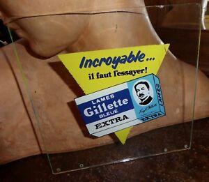 Plaque en verre publicitaire lames Gillette bleue extra