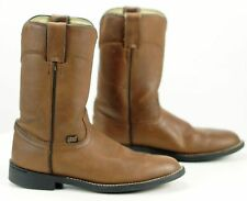 Justin Basics Roper Cowboy Western Riding Boots 10-Inch Brown Leather Womens 6 B