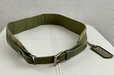 Christian Dior Logo Quilted Cannage Quilted Trotter Dog Tag Green Leather Belt