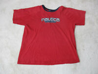 VINTAGE Nautica Jeans Shirt Adult Large Red Blue Spell Out Box Logo Mens 90s *