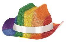 Pride Rainbow Glitter Mini Cowboy Hat x 3 Festival Parade Party Fancy Dress