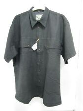 YES 60 Linen 40 Cotton Mens Short Sleeve Black Casual Shirt Size Medium M NWT
