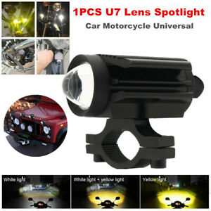 1PCS LED Car Motorcycle Bikes U7 Lens Two-color Spotlight Lamp 6000K Waterproof