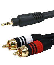25 FT 3.5 mm Aux Cable Plug to 2-RCA L R Jacks Audio Auxiliary Gold Plated 22AWG