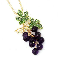Betsey Johnson Enamel Crystal Bead Grapes Pendant Chain Necklace/Brooch Pin Gift