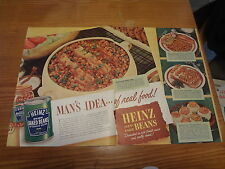 """1946 Heinz Baked Beans Vintage Magazine Ad """"Man's Idea...of real food!"""