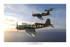 "WWII WW2 USN VF-17 Vought F4U Corsair Ace Aviation Art Photo Print - 8"" X 12"""