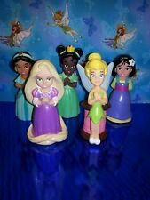 "Disney Princess 5 Figure Cake Toppers Pvc 5"" Doll Lot Tinkerbelle Jasmine"