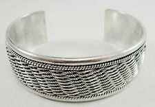 "Sterling 7/8"" Wide Cuff Bracelet Basketweave Rope Design 7 3/8"" Contemporary"