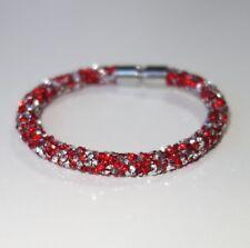 A353 - Wickelarmband - NEU - Rot Silberfarben Glitzer Strass Magnet Armband