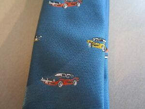 brand new no tags tie aged 14-16 years blue retro muscle car made next mustang