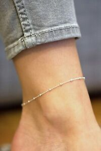 Sea of Ice Sterling Silver 1mm Square Snake Chain Anklet for Women 10 and 11 Italy Size 9