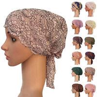 Women Muslim Inner Cap Arab Lace Hijab Scarf Islamic Headwear Turban Bonnet Hat