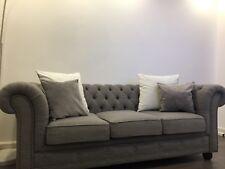 chesterfield sofa grau stoff 3 sitzer zu verkaufen