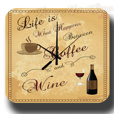 COFFEE AND WINE VINTAGE RETRO KITCHEN METAL TIN SIGN WALL CLOCK
