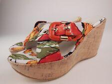 STUART WEITZMAN Cinture Floral Cork Wedge Sandals Sz 5.5 M