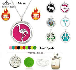 30mm Aroma Pendant Necklace Stainless Steel Essential Oil Diffuser Locket Gift