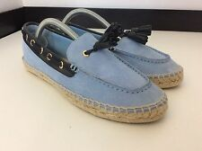 Tory Burch New Bnwob  Blue Suede Leather Moccasins Slip ONS Shoes Size 8m Uk 6