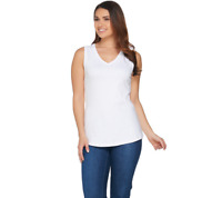 Isaac Mizrahi Live! Essentials Shirttail Hem Tank Top Size M Bright White Color