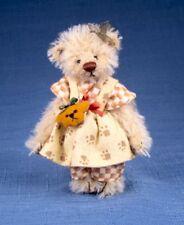 "Deb Canham "" Cindy"" Miniature Light Blond Mohair Bear- 3 3/4"" With Bear Purse"